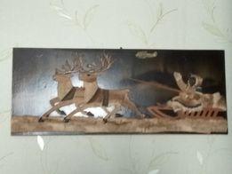 Панно картина из меха оленя, ручная работа, СССР