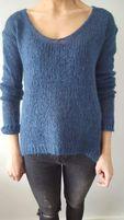 Sweter Next niebieski,granatowy,dekolt V.,rozm S