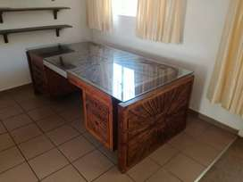 Sapele Wood Table and Wall Unit