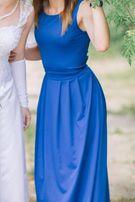 Длинное синее платье в пол для свидетельницы, на выпуск, мероприятие