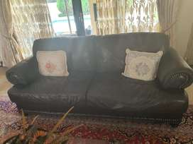 3 piece set genuine leather couch