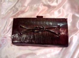 Клатч кошелек сумка лаковая черная кожаная ретро СССР винтаж