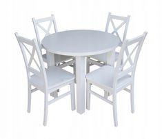 Okrągły Stół Rozkładany + 4 Krzesła Krzyżak! SUPER OFERTA! Sprawdź