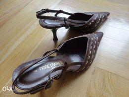 Туфли коричневые Fiore Leatec на каблуке