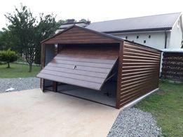 Garaż blaszany blaszak struktura drewna profil zamknięty