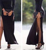 Hm długa czarna sukienka rozporek z przodu jak angelina nowa piękna42