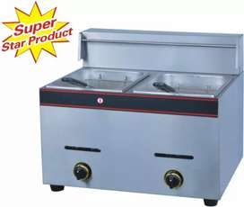 Double 6lx6l gas fryer and chip cutter