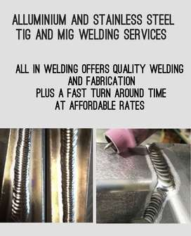 MIG AND TIG WELDING SERVICES ON STEEL, STAINLESS STEEL AND ALUMINIUM