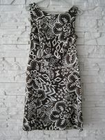 sukienka brązowa wzory S / M elegancka ( Zara Reserved Mohito Mango