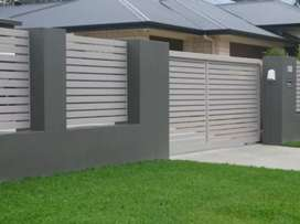 GALVANIZED STEEL FRAMED NUTEC SLATED SLIDING GATES & PALISADE FENCING