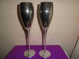 Свадебные бокалы металл серебрение