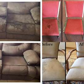 Couches(Scatter Pillows included), dinner & office chairs DEEP Cleaned