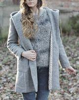Sweter Włochacz szary smugi włoski S/M odcienie szarosci