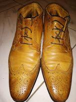 ИТАЛЬЯНСКИЕ туфли /мокасины р.41-42 РЫЖИЕ-натуральная КОЖА