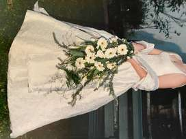 Andre Croucamp designed pure silk wedding dress & wrap
