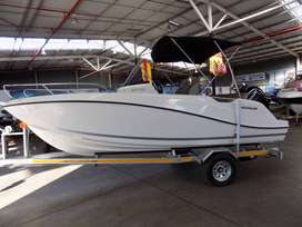 Quicksilver 605 open on trailer 150 hp mercury 4 stroke