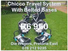 Second Hand Chicco Twin Travel System With Belted Bases