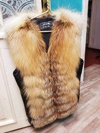 Продам кожаный жилет из лисы, жилетка меховая