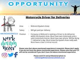 Motorcycle Driver for Deliveries - Midrand (Kyalami Area)