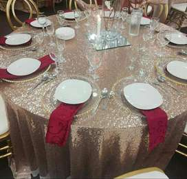 Round rose gold table clothes for sale.