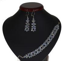 Biżuteria ślubna komplet slubny ślubny wieczorowy SREBRNY crystal