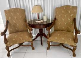Walnut French Style Occasional Armchairs