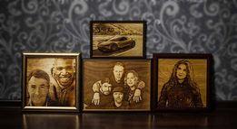 Выжигание на дереве картин и портретов по фото