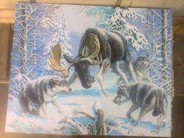 """Картина """"Волки"""" масло, холст"""