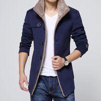 Пальто Весна-осень синее с мехом