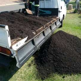 Lawn dressing, compost and chicken manure