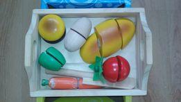 Деревянные овощи, нож, готовим завтрак, конструктор, деревянные игрушк