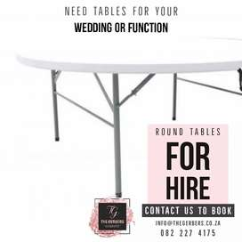 Round tables and Trestle tables for hire