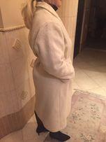 Płaszcz wełniany Biały . Wełna , 42 Ecru , kremowy