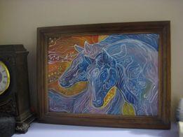 художественная картина (батик) в рамке 36х27