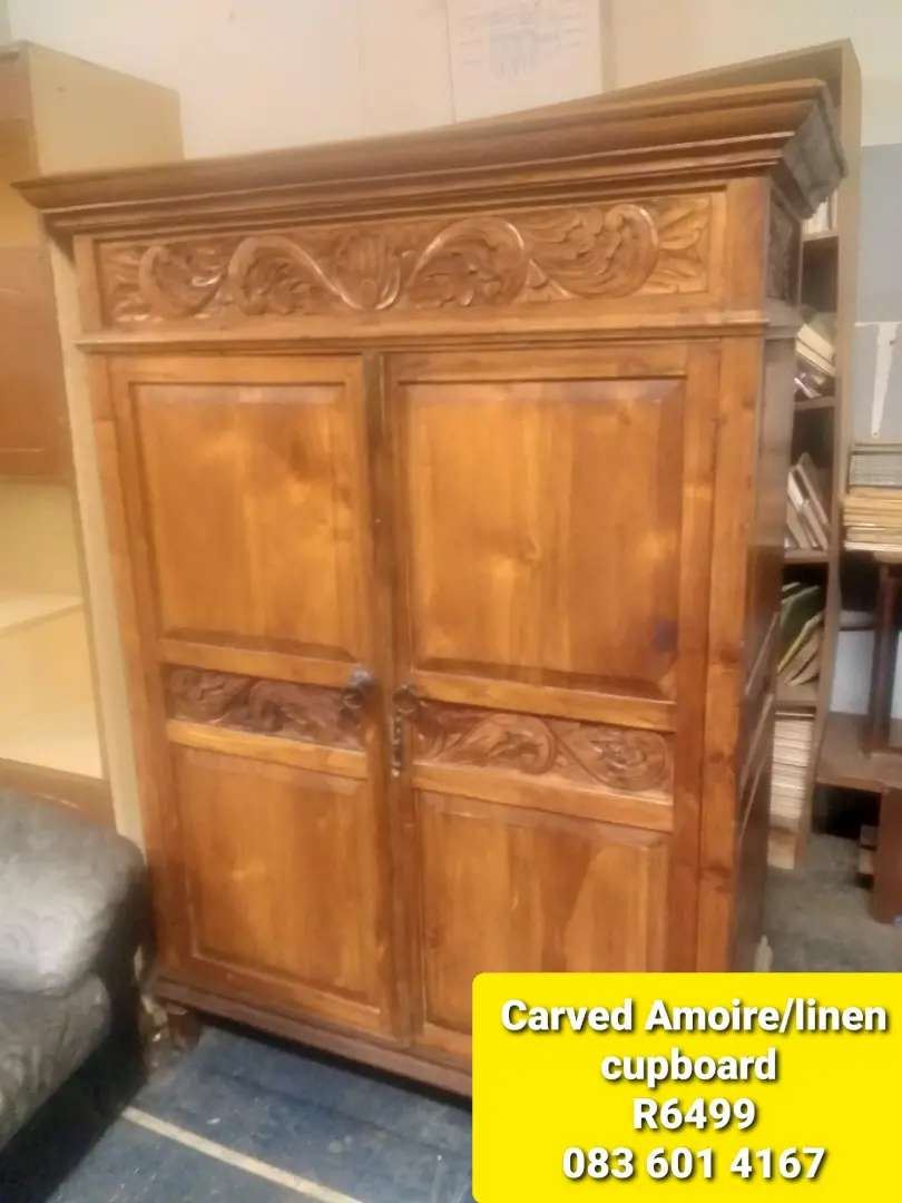 Carved Amoire/linen Cupboard