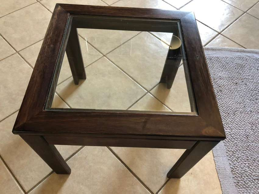 Two small side tables, glass and wood 0