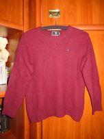 Bordowy sweter wełniany, ciepły markowy M