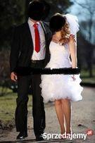 Suknia ślubna, krótka/długa z trenem, etola z imitacji lisa, welon...
