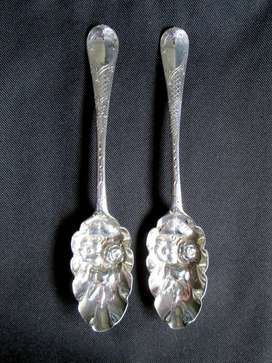 c1820 Antique pair of George iii Hallmarked Silver Berry Spoons
