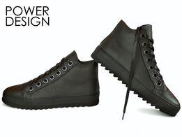 """Мужские кожаные кроссовки кеды ботинки берцы теплые """"Power Design 4"""""""