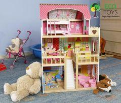 Duży drewniany domek dla lalek 90 cm