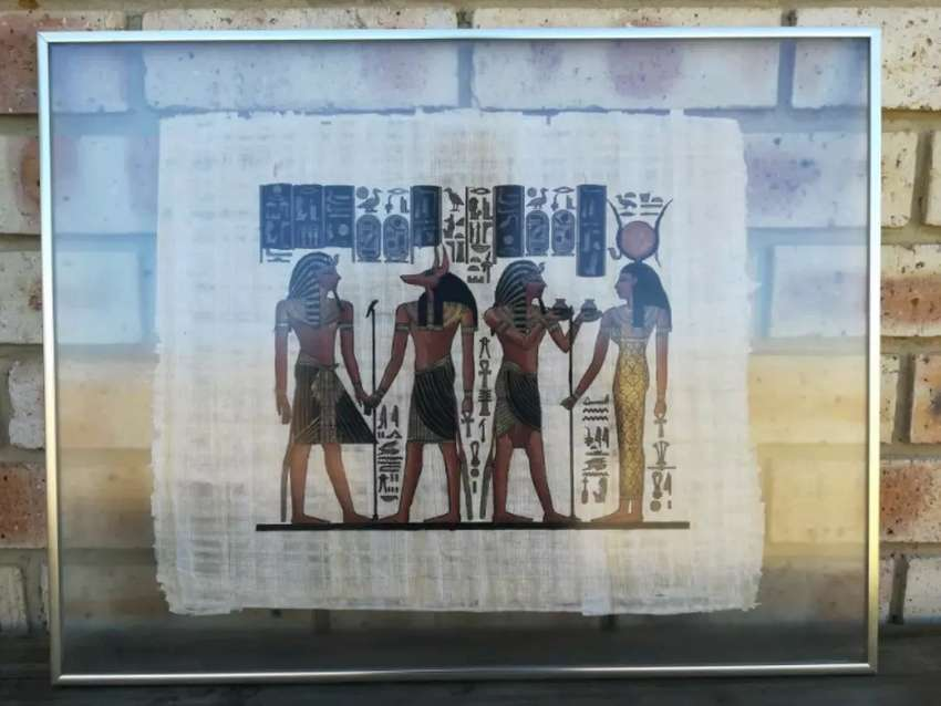 Glass Framed Egyptian Paintings on Papyrus