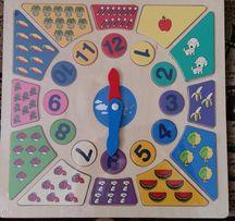 Puzzle, zegar, drewniana zabawka