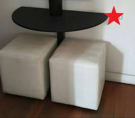 Half Moon Table. Laminate wrapped wood & Steel - R250 ONCO