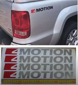 Pair off VW Amarok 4 MOTION rear side decals stickers