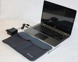 Mecer touchscreen laptop with pen and bag