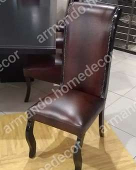 New brown crocodile print dining chairs with studs