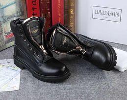 Balmain женские кожаные ботинки полусапожки зима люкс