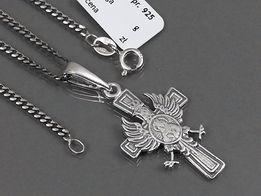 Srebrny krzyżyk patriotyczny z Matką Boską i orłem w koronie łańcuszek