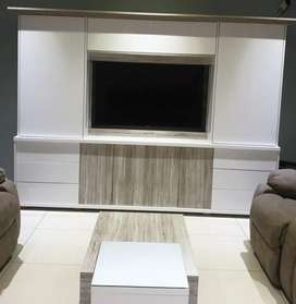 Flat screen TV with TV cabinet and center table
